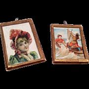 2 Victorian Scrap Lithograph Picture Under Glass Dollhouse Doll Antique Miniature