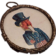 Antique Uncle Sam Glass Front Picture Pendant for Dollhouse or Doll