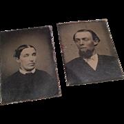 2 Miniature Civil War Era Dollhouse Doll Antique Tintype Photograph Man & Woman