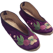 Pointy Toe Vintage Oriental Embroidered Silk Purple Shoes for Large Doll