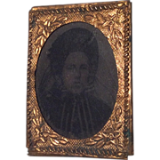 French Miniature Tintype Antique Photo in Ornate Frame with Provenance for Doll or Dollhouse