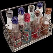 Complete Miniature Set German Liquor Bottle in Metal Holder Doll Size - Red Tag Sale Item