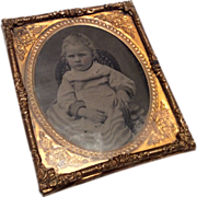 Antique Tintype Photo of Toddler for Dollhouse Doll Picture Portrait
