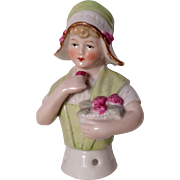 German Half Doll with Basket Roses for Pin Cushion