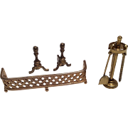 Metal Fireplace Accessories Tools Andirons Dollhouse Doll Miniature
