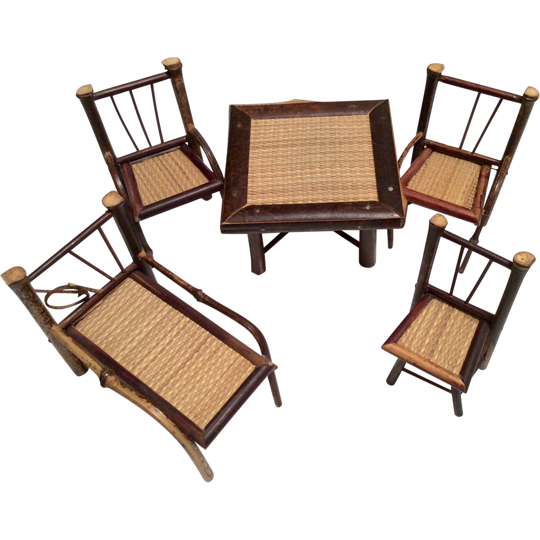 Bamboo Wood Dollhouse or Doll Size Vintage Furniture Table Chairs