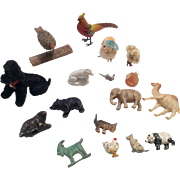 Miniature Dollhouse Doll Animal Group Metal Wood Glass Celluloid German Poodle Bear Bird etc.