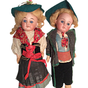 All Original German Antique Bisque Doll Pair Boy Girl Brother Sister Complete Outfits