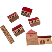Miniature German Doll Dollhouse Wood Blocks in Bag Doll's Toy