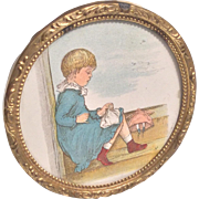 Vintage Print Girl with Doll in Lovely Ornate Metal Frame