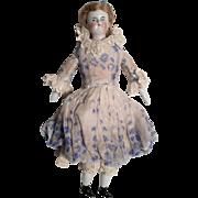 Fab! Bald Biedermeier Black Cap Antique German China Doll