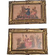 2 Miniature Dollhouse Doll Picture Print Set Frames with Wood Back Glass Front