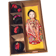 Vintage Oriental Doll in Wood Presentation Box with 4 Extra Wigs