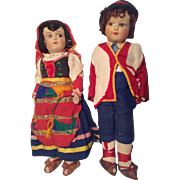 Pair of Googly Vintage Cloth Doll Lenci Type