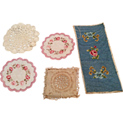 5 Pc. Vintage Dollhouse Doll Linens Doily Pillow Sham Embroidery Tapestry