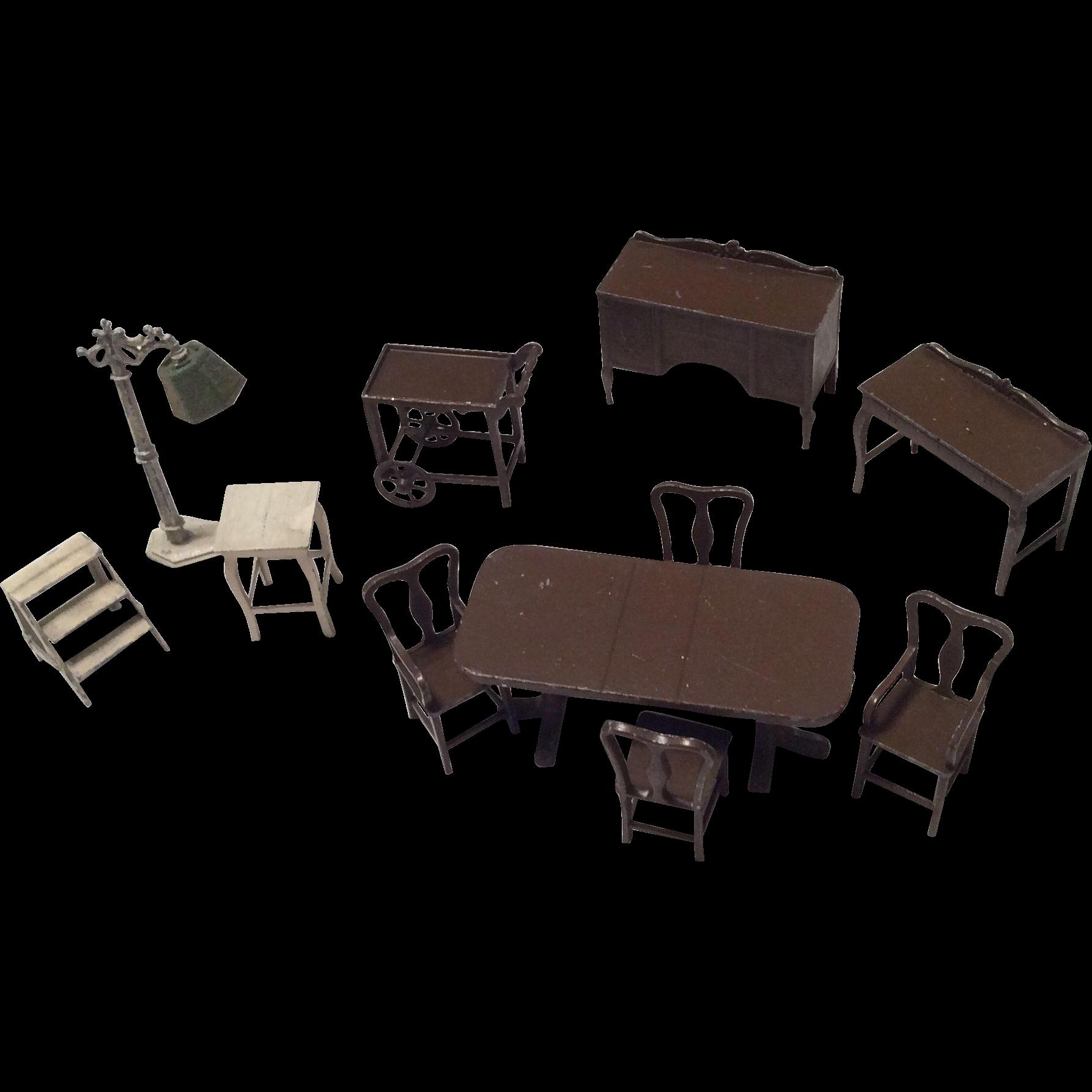 11 pc miniature dollhouse doll metal furniture dining room kitchen