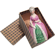 Antique German Figural Miniature Half Doll Type Sewing Tape Measure in Box
