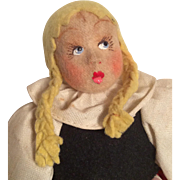 Vintage Italian Cloth Doll with Felt Hair Surprised Lenci Type Googly Eyes