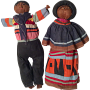 Rare Vintage Native American Seminole Indian Doll Man and Woman