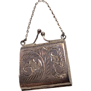 English Sterling Silver Hallmarked Miniature Doll Purse for Mignonette All Bisque Dollhouse Small Fashion
