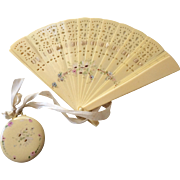 Vintage Vanity Set Celluloid Fan and Mirror Wristlet for Doll