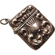 Sterling Silver Miniature Doll Size Antique Vespa Stamp Holder Box Charm for Necklace or Chatelaine