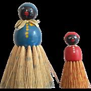 2 Vintage Black Americana Wood Half Doll Brush Set African American