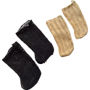 2 Pair Antique Doll Socks Stockings