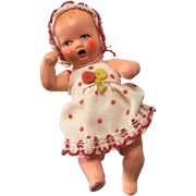 Adorable All Original German All Bisque Dollhouse Baby Doll