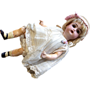 "7"" Kestner Molded Painted Shoes Socks Bent Knee Body Bisque Head Antique Doll"