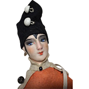 German Bosque Head Boudoir Doll Style Sewing Doll Pin Cushion Felt Clothes