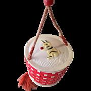 Adorable Celluloid Basket Doll Purse Rabbit on Top