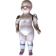 Early Tiny All Bique Doll Stiff Hip Round Face
