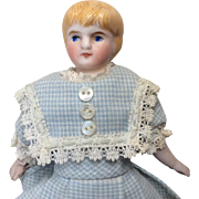 German Bisque Head Dollhouse Doll Molded Blonde Hair Great Dress
