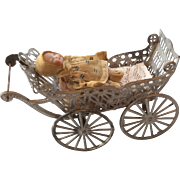 German All Bisque Baby Doll Original Clothes with Antqiue Dollhouse Miniature Soft Metal Carriage Pram