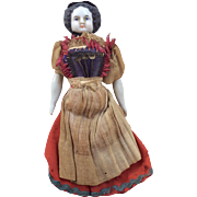 Antique German High Brow Dollhouse China Head Doll Original Clothes