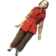 Antique Wood Jointed Tiny Papier Mache Dollhouse Doll Original Clothes