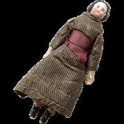 "Tiny 4"" Pink Tint High Brow German Miniature China Head Antique Dollhouse Doll Original Clothes"