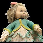 Unusual Vintage Lenci Cloth Felt Doll Chubby Toddler
