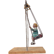Antique Swinging Tin Doll Toy Girl Swing