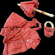3 Piece Vintage Vogue Gnny Doll Raincoat Purse Umbrella Set