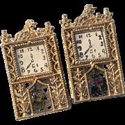 2 Vintage Soft Metal Clock Pair Figural Pendulum