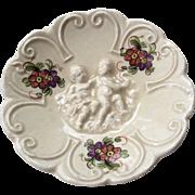 Miniature Porcelain Cherub Figural Dish Capodimonte for Doll or Dollhouse
