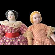 2 Vintage Ruth Gibbs China Head Doll Black and Blonde Hair Nice Dress Clothes Dollhouse