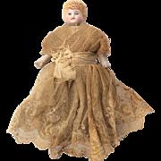Antique German Bisque Miniature Dollhouse Doll All Original.