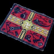 Vintage Native American Indian Design Felt Miniature Dollhouse Doll Rug Carpet Swastika