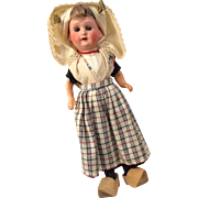 Factory Original German Bisque Head Dutch Outfit Doll