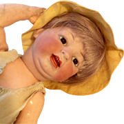 Adorable German Bisque Head Character Baby Doll