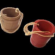 2 Wood Miniature Doll or Dollhouse Bucket Pail