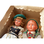 2 Vintage German Doll Pair in Paper Lace Box Boy Lederhosen and Girl